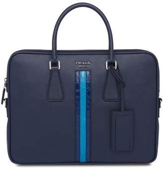 Prada logo zipped laptop bag