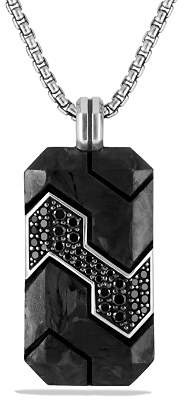 David Yurman Forged Carbon Tag with Black Diamonds in Silver