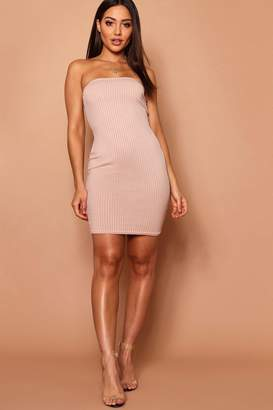 boohoo Jumbo Rib Bandeau Mini Dress