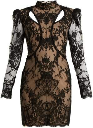 Alexander McQueen High-neck cotton-blend lace dress
