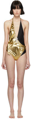 Gucci Gold and Black Lycra One-Piece Swimsuit