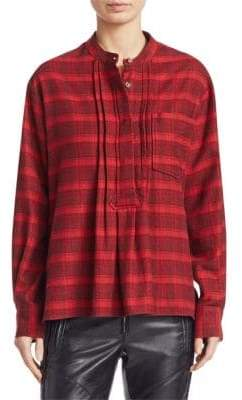 Etoile Isabel Marant Dacyo Flannel Check Henley Blouse