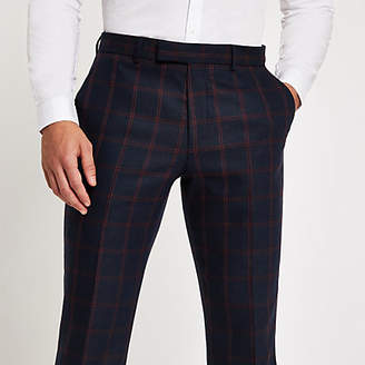 River Island Mens Navy check skinny suit trousers