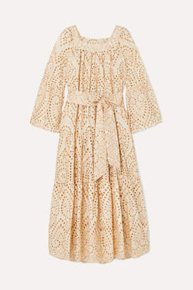 Lisa Marie Fernandez Broderie Anglaise Cotton Maxi Dress - Neutral
