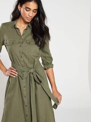 cbb6fde82f4 Very Linen Button Through Shirt Dress - Khaki