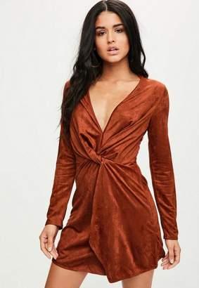 Missguided Orange Faux Suede Plunge Wrap Shift Dress