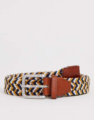 Jack and Jones woven belt with buckle in multi colour
