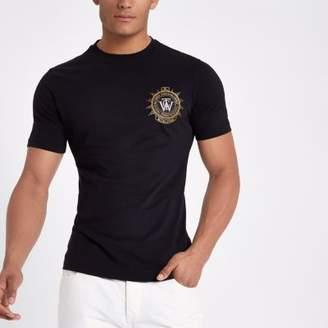 River Island Black slim fit embroidered badge T-shirt
