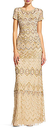 Adrianna Papell Adrianna Papell Beaded Boat Neck Cap Sleeve Gown
