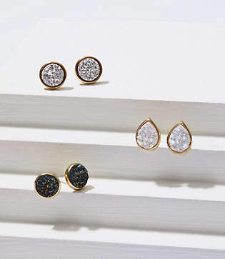 LOFT Druzy Stone Stud Earring Set