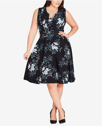 City Chic Trendy Plus Size Floral-Print Belted Fit & Flare Dress