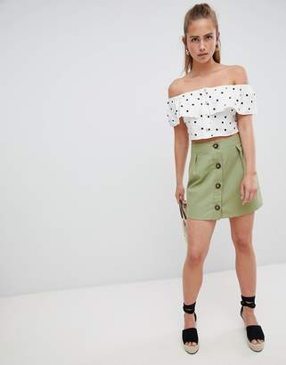 PrettyLittleThing Button Detail Mini Skirt