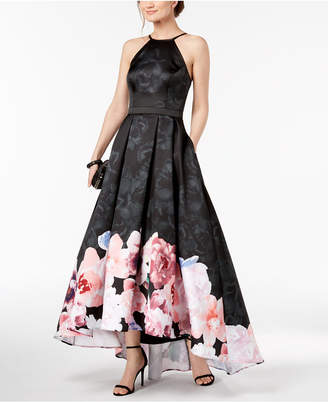 Xscape Evenings Floral-Print High-Low Gown
