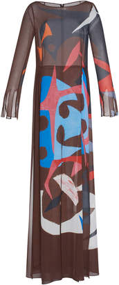 Akris Silk Crepe Masonite Print Gown