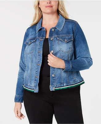 INC International Concepts I.n.c. Plus Size Striped-Hem Denim Jacket, Created for Macy's