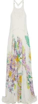 Roberto Cavalli Paneled Pintucked Floral-Print Silk-Chiffon Gown