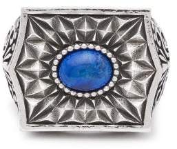 Emanuele Bicocchi Sovereign Stone Sterling Silver Ring - Mens - Silver