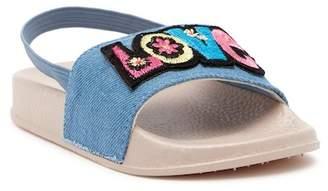 Nicole Miller Love Denim Slingback Slide Sandal (Toddler)