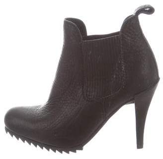 Pedro Garcia Leather Round-Toe Ankle Boots