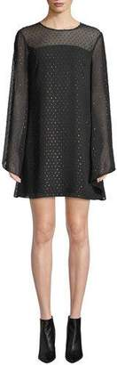 Trina Turk Tess 2 Swiss Dot Long-Sleeve Mini Dress
