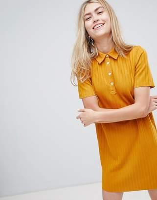 Bershka ribbed collared dress in mustard
