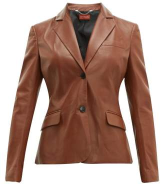 Altuzarra Egan Single Breasted Leather Jacket - Womens - Brown