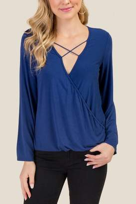 Tanya Criss Cross Front Wrap Top - Navy