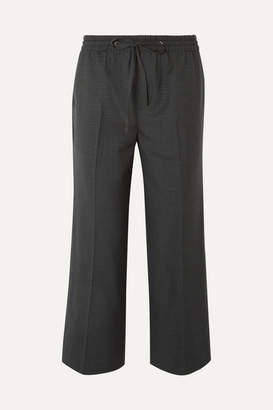 Miu Miu Cropped Checked Wool Pants - Gray