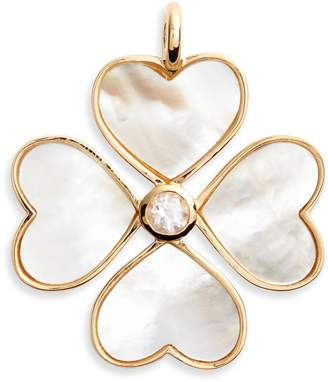 Asha Mother-of-Pearl Heart Clover Charm