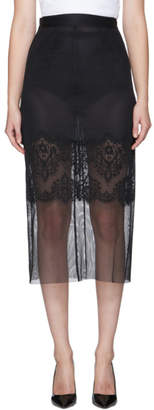 Dolce & Gabbana Black Mesh and Lace Pencil Skirt