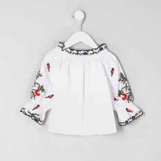 River Island Mini girls white poplin bardot top