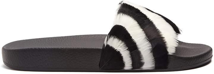 Valentino Striped feather-embellished slides