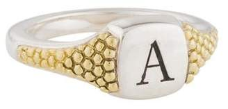Lagos Two-Tone Signature Caviar Signet Ring