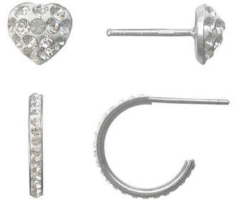 JCPenney FINE JEWELRY Girls Sterling Silver & Crystal 2-pr. Earring Set