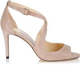 Jimmy Choo EMILY 85 Ballet Pink Glitter Mesh on Suede Sandals