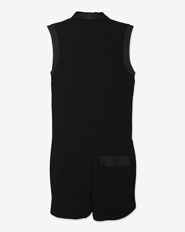 L'Agence Sleeveless Tux Romper: Black