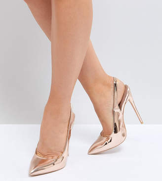 19f8893c570 Lost Ink Wide Fit Rose Gold Sling Back Court Shoes