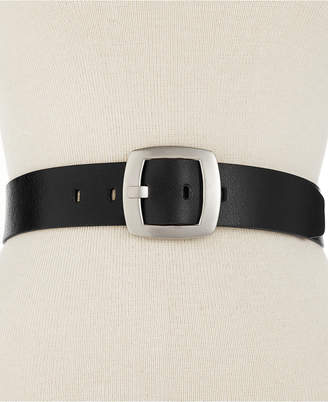 Calvin Klein Leather Pant Belt with Centerbar Buckle