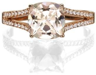 Victoria's Secret Diamond Mine 14K Rose Gold 1.20 CT natural peach/pink Morganite Ring with Diamonds Split Shank Cushion Vintage