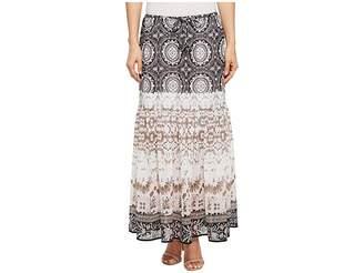 Tribal Pull-On 36 Printed Georgette Maxi Skirt with Tassel Women's Skirt