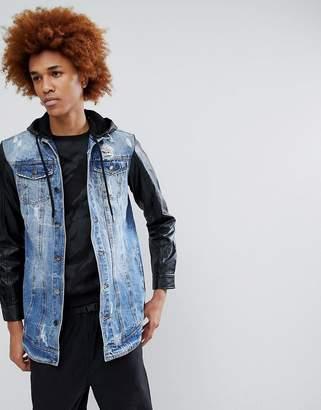 Criminal Damage Denim Jacket with PU Sleeves