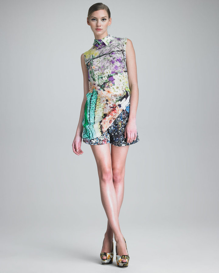 Mary Katrantzou Crushed Soda Can-Print Shorts