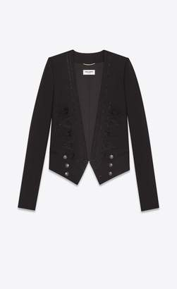 Saint Laurent Embroidered Spencer Jacket In Black Gabardine