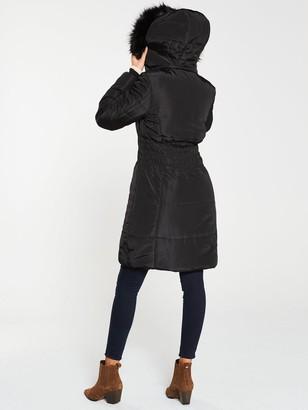 Very Waist Detail Longer Padded Coat - Black