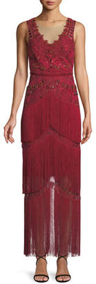 Marchesa All Over Beaded Sleeveless Fringe Long Dress