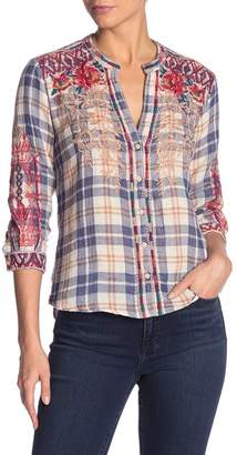 Johnny Was Veronica Split Neck Plaid Embroidered Button Down Shirt