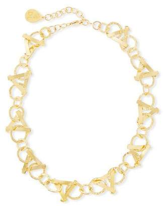Devon Leigh Short Golden Triangle-Link Necklace