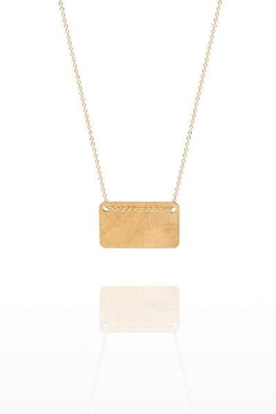 Styleserver DE By Boe Lange Halskette mit rechteckigem Anhänger vergoldet
