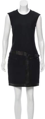 Helmut Lang Sleeveless Leather-Trimmed Dress