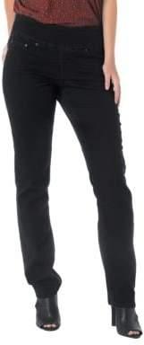 Jag Peri Elastic-Waist Straight-Leg Jeans- Black